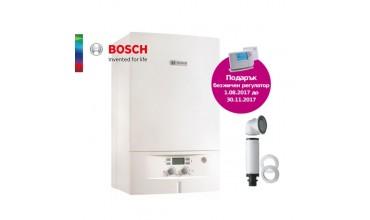 Котел газов Bosch Condens 2000W,двуконтурен 24.00kW,базов димоотвод и безжичен регулатор Honeywell
