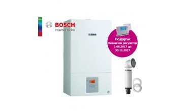 Котел газов Bosch Condens 2500W,двуконтурен 28.02kW,базов димоотвод и безжичен регулатор Honeywell