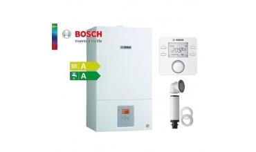 Котел газов Bosch Condens 3000W,двуконтурен 27.4kW,базов димоотвод и термоуправление CR100